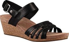 UGG Serinda Wedge Sandal in Black Leather. The UGG Serinda Wedge Sandal is so comfortable you'll think you're wearing flats. Braided details add luxe texture to the strappy silhouette. Leather, suede, and cork Imprint by UGG insole Rubber outsole Removable heel strap. #footwear #UGG #shoes #wedgesandals #stylish #fashion #style