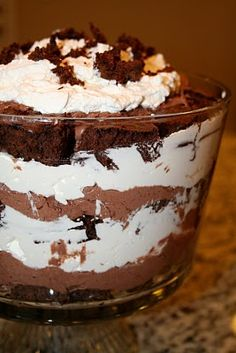 Chocolate Mousse Trifle  --To DIE for.  We made it last night to eat around the campfire (in individual bowls vs. the trifle layering). Best with a cool glass of milk.