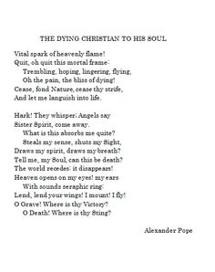 The Dying Christian to His Soul - Alexander Pope