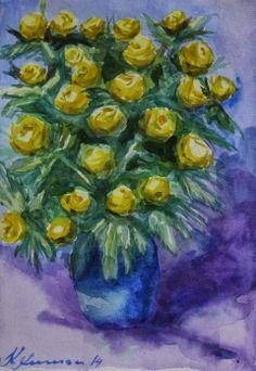 Keiu Kuresaar: maalid ja joonistused, watercolor, flowers, globe flowers in the vase