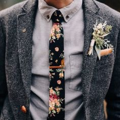 A Floral Skinny Tie - Unique Groom Looks You'll Both Love - Photos