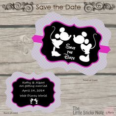 Disney Save the Date par TheLittleStickyNote sur Etsy