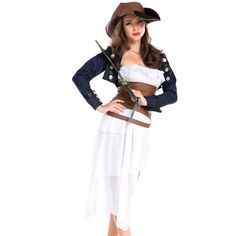 Hot Sale Adult Female Cruel Seas Captain Buccaneer Pirate Cosplay Costume Womens Sexy Halloween Fancy Dress Clothing Sufficient Supply Women's Costumes