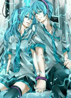 Vocaloid Miku Hatsune And Her Genderbend/Brother Mikuo Hatsune