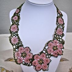 Delicate beaded necklace; pink net flowers and free-form bead lace ribbon by HelenClarenceDesigns on Etsy