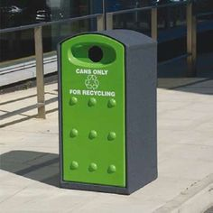 Manufactured from GFC, the dimpled door deters bill posters whilst the strong steel composite roof section will resist vandals as well.  This recycle version is available with a variety of apertures to suit various recycle streams.