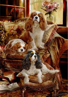 Cavalier King Charles Spaniel Royal Companions LE print - by Margaret Sweeney I Love Dogs, Cute Dogs, Cavalier King Charles Spaniel, Dog Portraits, Animal Paintings, Dog Art, Dog Breeds, Cute Animals, Beautiful Dogs