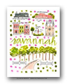 Savannah Map Print – Evelyn Henson