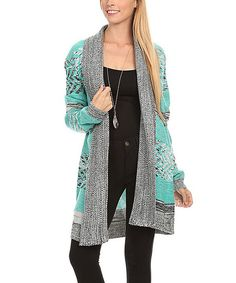 Look at this Nema Avenue Mint & Gray Geometric Open Cardigan - Plus Too on #zulily today!