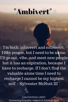 #Empaths rather than trying to fit yourself into one category, discover who you are, acknowledge and embrace it. Are you an #ambivert? When we live in a place of knowing and acceptance of ourselves it naturally recharges your depleted energies. Lisa Hutchison LMHC- working for empathic healers who want to recharge their depleted energies to serve their family and clients with their highest self. intuitive psychotherapy, angel card & writings sessions. http://www.lisahutchison.net