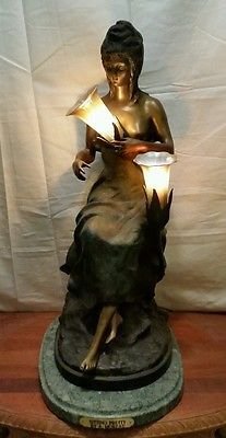 "Heavy Bronze Sculpture lamp Adaptation of  ""SITTING PRETTY""  by Auguste Moreau"