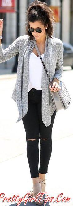 @prettygirltips Grey Perfect Waterfall Cardigan   Black and WHite