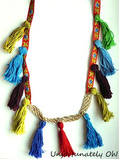 Ribbon, Tassel and Chain Necklace DIY