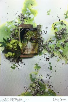 Big Moment by Cindy Brown Hello Mixed Media & Art creatives! Cindy brown here with a textured Layout inspired by Au. Mixed Media Art, In This Moment, Green, Flowers, Scrapbooking, Stamp, Painting, Big, Wedding