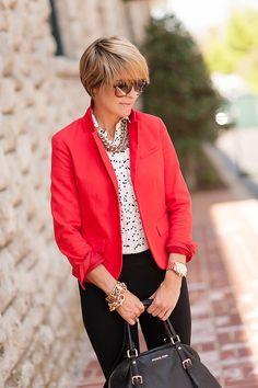 B blouse, bright blazer, black pants, great accessories via s e e r s u c k e r + s a d d l e s