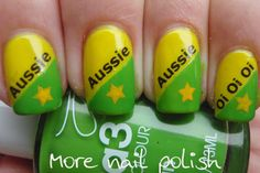 Aussie themed mani - for Aussie Day (celebrated in Jan ever yr) - using print at home water decal slide paper