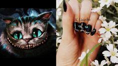 nails art alicja w krainie czarów kot paznokcie ręczna malowanka