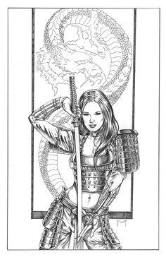 mitch foust art ,female knight | Female Samurai Sketch samurai girl, in mitch foust's sold comic art ...