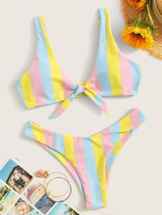 To find out about the Striped Knot Front Top With High Cut Bikini at SHEIN, part of our latest Bikinis ready to shop online today! 50s Bathing Suit, Girls Bathing Suits, Cute Swimsuits, Women Swimsuits, Bikini Outfits, High Cut Bikini, Summer Bikinis, Women's Bikinis, String Bikinis