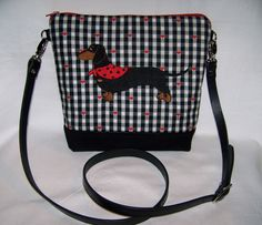 New Embroidered Black and Tan Smooth Hair Dachshund with Red Bandanna/Scarf - Cross Body Handbag-Purse by OscarsCreations on Etsy