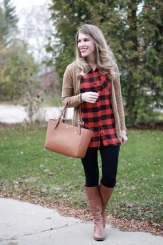 I do deClaire: Buffalo Plaid & Confident Twosday Linkup Checked Shirt Outfit, Plaid Shirt Outfits, Plaid Tunic, Cute Outfits, Flannel Shirts, Tunic Shirt, Winter Maternity Outfits, Fall Winter Outfits, Brown Cardigan Outfit