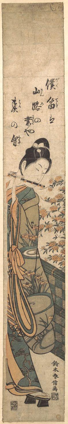Harunobu Suzuki / Junger Mann spielt Flöte am Gartenzaun