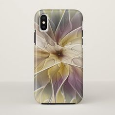 Floral Fantasy Gold Aubergine Abstract Fractal Art iPhone X Case - modern gifts cyo gift ideas personalize
