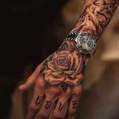 Hand Tattoo Ideas For Men - Best Tattoo Ideas For Men: Cool Tattoos For Guys - Find Badass Designs and Drawings For Inspiration Side Hand Tattoos, Rose Hand Tattoo, Hand Tats, Forearm Tattoos, Body Art Tattoos, Small Tattoos, Skull Hand Tattoo, White Tattoos, Ankle Tattoos