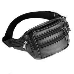 Men Leather Waist Fanny Pack Bum Adjustable Belt PU Leather Bag Money Cash Coin Storage Pouch Travel Purse Zipper Waist Bags #Affiliate