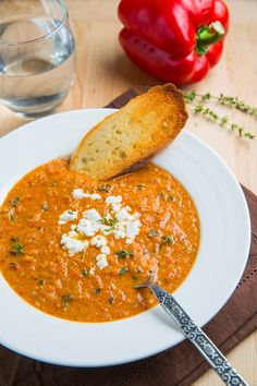 Creamy Roasted Red Pepper and Cauliflower Soup with Goat Cheese. I made this without the goat cheese