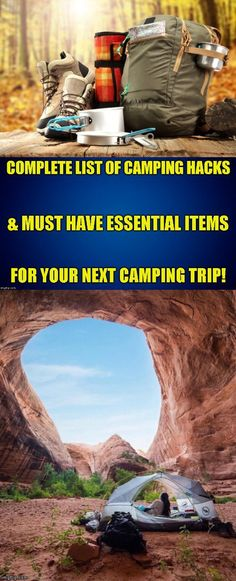 Detailed listing of must have essential items for yourself/your campsite & clever fun camping hacks you may have never heard of before! Camping Must Haves, Camping List, Camping Glamping, Camping Checklist, Camping Survival, Camping And Hiking, Hiking Gear, Outdoor Survival, Camping Hacks
