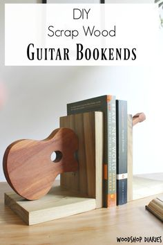 How to Build your Own Scrap Wood Bookends Shaped like a Guitar DIY Scrap Wood Project--Simple Guitar Shaped Bookends made from scrap wood and a few simple tools! Build several shapes and sizes to make your own DIY bookends Wood Projects For Beginners, Small Wood Projects, Scrap Wood Projects, Diy Pallet Projects, Scrap Wood Art, Cnc Projects, Woodworking Projects That Sell, Popular Woodworking, Woodworking Crafts