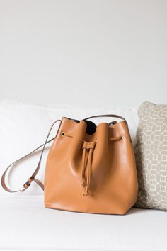 Cognac Drawstring Bucket Bag That Pairs With Any Outfit