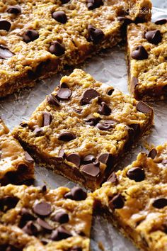 "Caramel Oatmeal Bars ~ These Oatmeal Bars Have a Delicious, Ooey, Gooey Layer of Caramel and Sweet Chocolate Chips! Quick, Easy Dessert for Anyone! ~ <a href=""http://www.julieseatsandtreats.com"" rel=""nofollow"" target=""_blank"">www.julieseatsand...</a>"