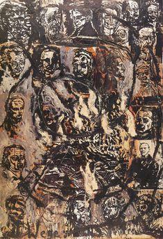 """Wege der Weltweischeit: Die Hermannsschlacht 1978 Woodcut in 31 aprts on blotting and handmade paper,  acrylic and shellac 240 x 350 cm    134 x 137¾"""""""
