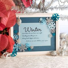 "Snowflake Message Frame: Display a favorite winter or holiday quote in this easy-to-make frame. Add it to your Christmas decor, or craft one to give as a gift.  What You'll Need      Frame and mat without glass      Computer and printer      Cardstock      Scissors      Felt shapes      Crafts glue      Glitter glue      ""Bling"" dots, such as Doodlebu"