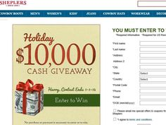 Enter the Sheplers $10,000 Fall Cash Giveaway for a chance to win $10,000!