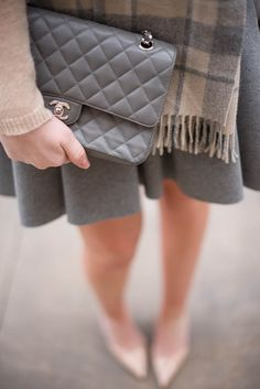 Grey + nude + Chanel = très chic!