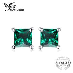 Sterling Silver Jewelry 925 Square Created Emerald 925 Sterling Silver Stud Earrings Classic Fine Jewelry for Women Price: Gold Jewelry, Fine Jewelry, Women Jewelry, Amethyst Jewelry, Tiffany Jewelry, Glass Jewelry, Jewelry Making, Sapphire Earrings, Women's Earrings