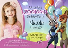 Zootopia Birthday Invitation for Girls | Customize it with your daughter along the bunny Judy Hopps and the fox Nick Wilde. #zootopia #zootopiainvitations #judyhoops #nickwilde #myheroathome