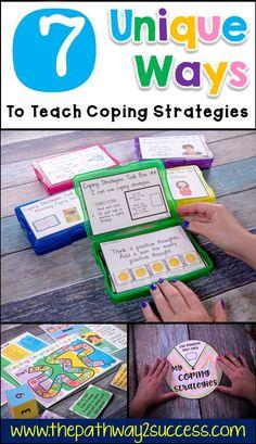 Unique ways to teach coping strategies coping skills Kids Coping Skills, Coping Skills Activities, Counseling Activities, Autism Activities, Sorting Activities, Social Skills For Children, Aba Therapy Activities, Autism Crafts, Feelings Activities