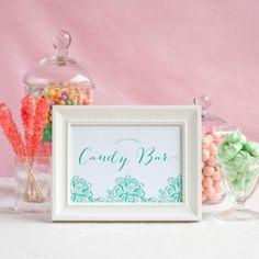 Wedding candy bar + free printable table sign.