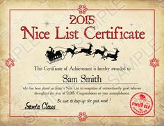nice list certificate free printable - Google Search                                                                                                                                                                                 More