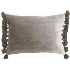 Turn your home into a glamorous living space with this gorgeous Terry Tassel Silver Velvet Cushion. - 100% cotton velvet pile - Size 35cm x 50cm - Zip fastening - Removable inner polyester padding - Unsuitable for a machine wash - Dry clean only due to cotton velvet pile - Matching items available