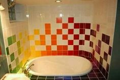 Raved Out Tile Bathroom.