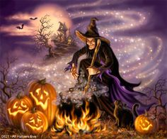 "Gelsinger Licensing Group – Artwork - Dona Gelsinger - Fall ""All Hallows Eve"" ~ witch ~ cauldron ~ magic ~ jack o' lantern ~ haunted house"