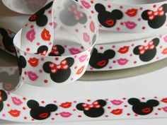 "Mickey & Minnie Valentines Day Ribbon 5 yards of 7/8"" Grosgrain White Ribbon with Red Lips and Polka Dots Hair Bows Party Favor Ties Disney by HouseofHairDecor on Etsy"