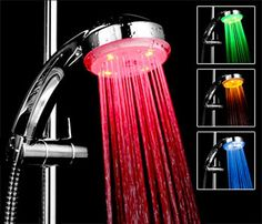 A shower head with a temperature controlled light so you need never burn your back again.