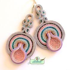 Long Soutache Earrings- in pink, vintage grey, Swarovski- OOAK Statement Earrings- Pastel Earrings- Beaded Earrings- Glamour Earrings by DILETTANTEsoutache on Etsy https://www.etsy.com/listing/210950418/long-soutache-earrings-in-pink-vintage