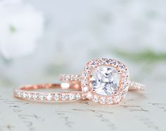 Halo Wedding Ring Set - Cushion Cut Ring - Engagement Ring - Rose Gold Ring…